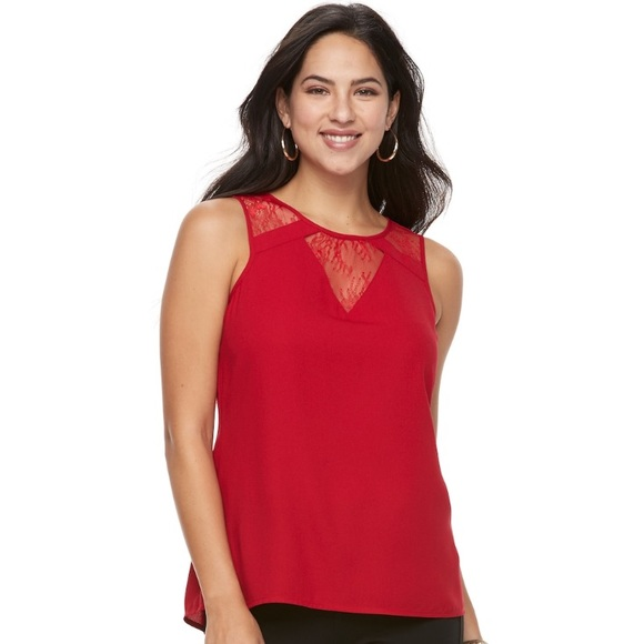 6091abbe9d525 w TAG LACE insert Sleeveless TOP. Boutique. Apt. 9